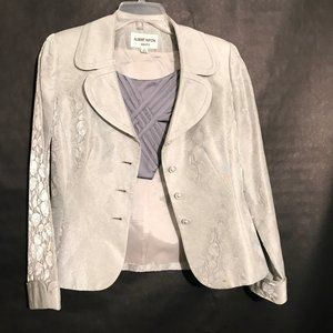 ALBERT NIPON Silver Gray Blazer Jacket Size 8